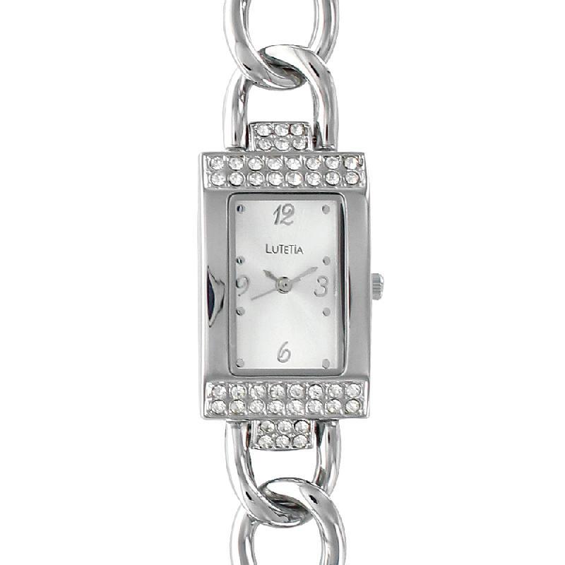 Montre lutetia métal boîtier avec pierres synthétiques et bracelet style gourmette