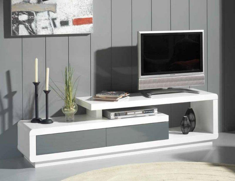 Meuble tv seville blanc 2 tiroirs gris anthracite for Meuble tele gris