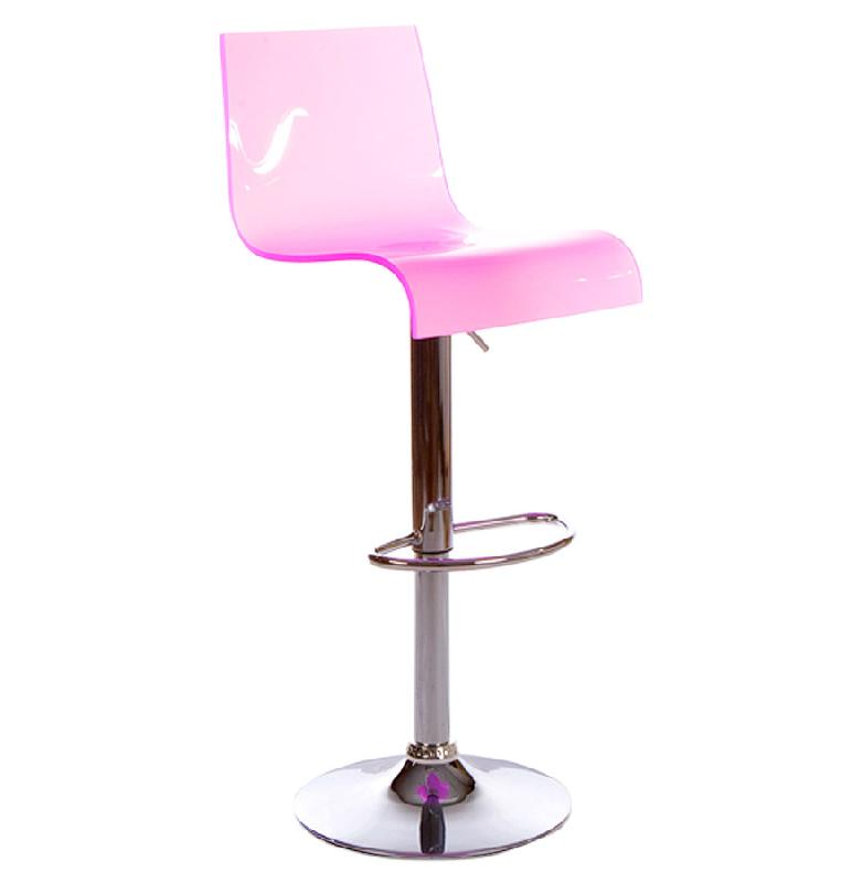 Tabouret de cuisine 39 nemo 39 r glable en plexiglas rose avec haut dossier comparer les prix de for Tabouret cuisine avec dossier