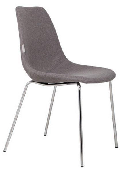 Chaise zuiver fifteen grise avec pieds chrome for Chaise zuiver