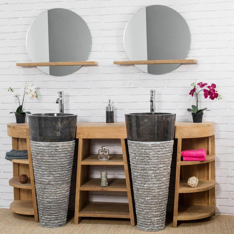 meuble de salle de bain en teck florence double 180cm vasques noir wanda collection comparer. Black Bedroom Furniture Sets. Home Design Ideas