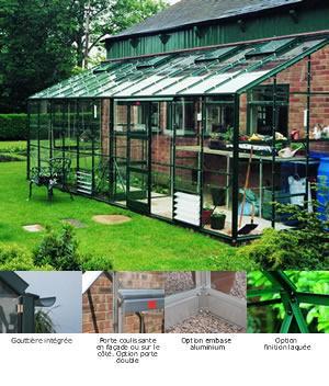 Serre adossee elite kensington 6 largeur 1 94 m ref a0030 for Serre de jardin adossee en verre