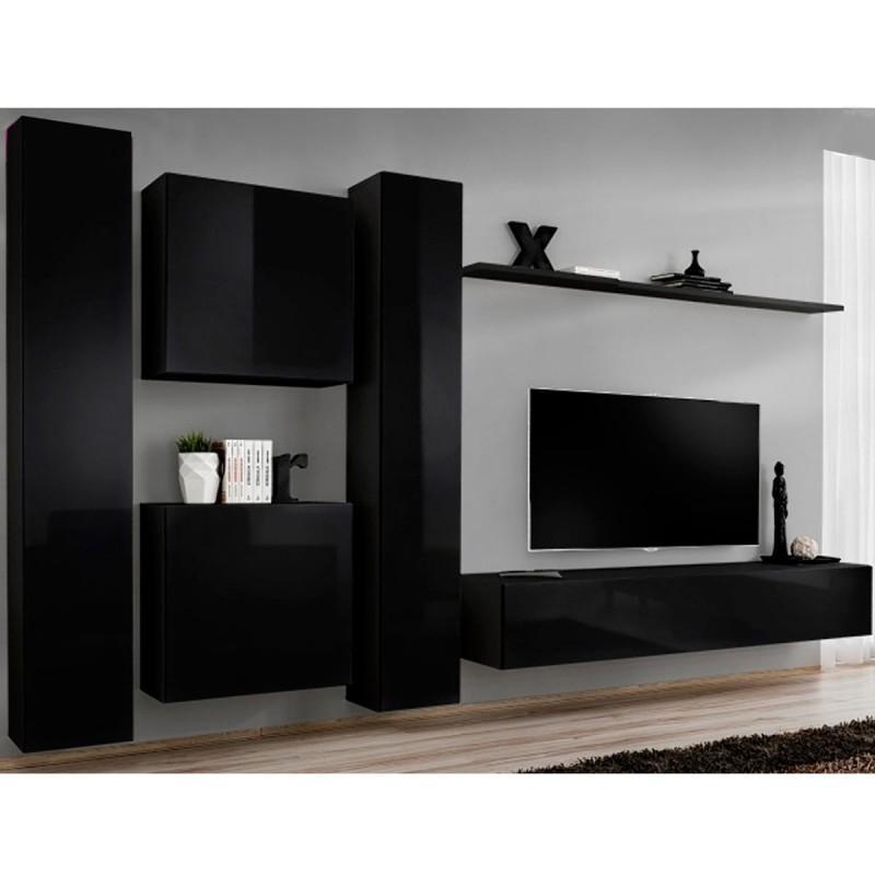 MEUBLE TV MURAL DESIGN SWITCH VI 330CM NOIR - PARIS PRIX