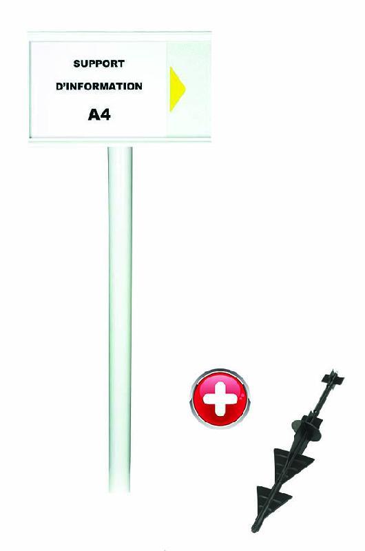Poteau PVC grande hauteur Blanc sur pointe avec support d'information A4 - 2000628