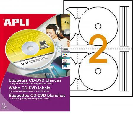 119884 - 200 ÉTIQUETTES CD/DVD MAXI BLANCHES, DIAM. 117 MM (100 FEUILLES / CDT)