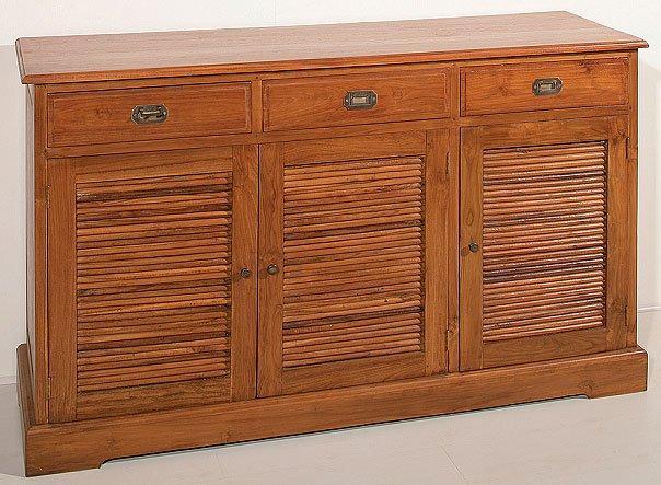 bahut indonesien 3 portes 3 tiroirs bouguy en teck style colonial. Black Bedroom Furniture Sets. Home Design Ideas