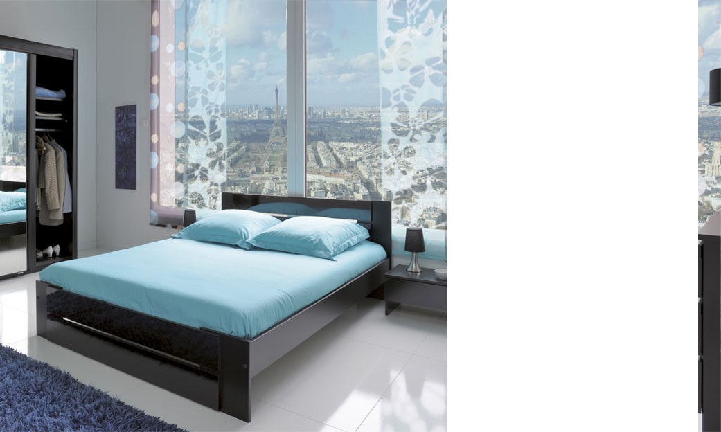 Chambre adulte complete noir brillant design panther for Chambres adultes completes design