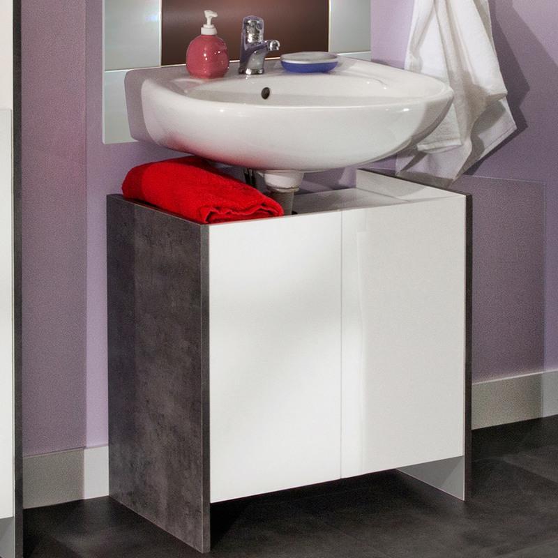 meuble sous lavabo 2 portes effet b ton fa ades blanches m s comparer les prix de meuble sous. Black Bedroom Furniture Sets. Home Design Ideas