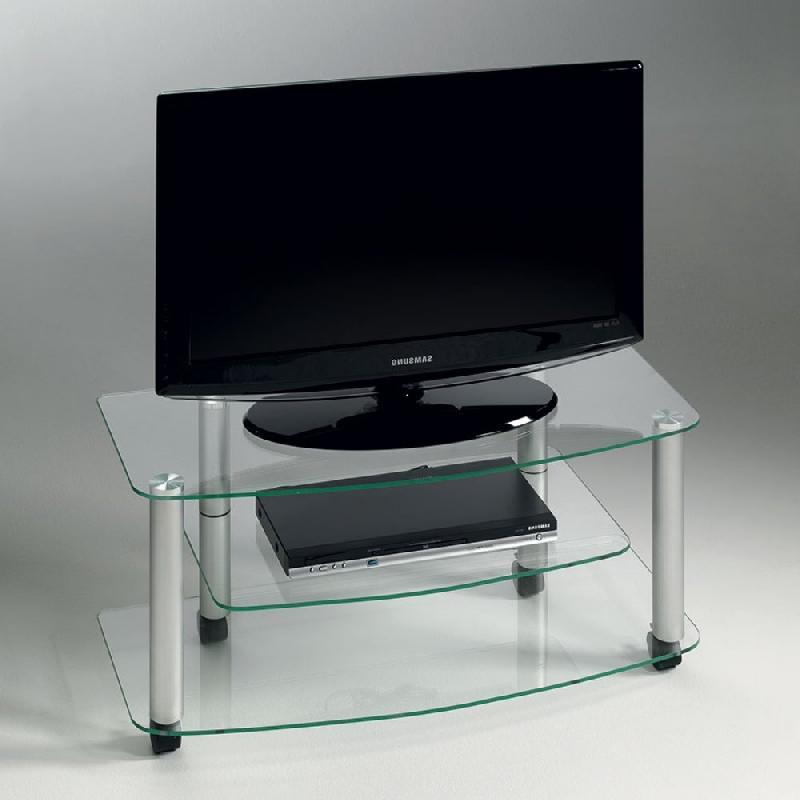 Meuble tv effel verre trempé transparent