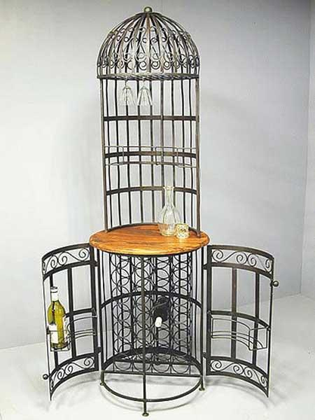 Bar cage palissandre et fer forge mc7243 for Meuble d angle fer forge