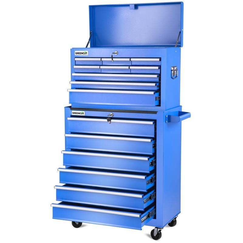 chariot a outils pro armoire en acier 4 roues 16 tiroirs bleu greencut comparer les prix de. Black Bedroom Furniture Sets. Home Design Ideas