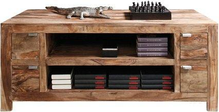meuble tv wood 4 tiroirs en bois massif. Black Bedroom Furniture Sets. Home Design Ideas