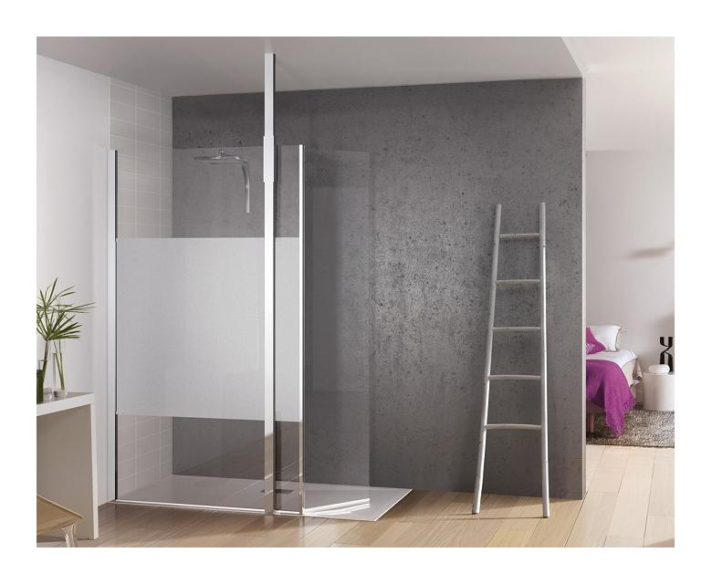 paroi de douche fixe avec bande centrale d polie volet pivotant kinespace duo avec m t 120 45. Black Bedroom Furniture Sets. Home Design Ideas