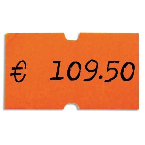 Agipa pack 6 rouleaux de 1000 étiquettes oranges fluos rectangulaires 21x12mm pour pinces 151991-101418