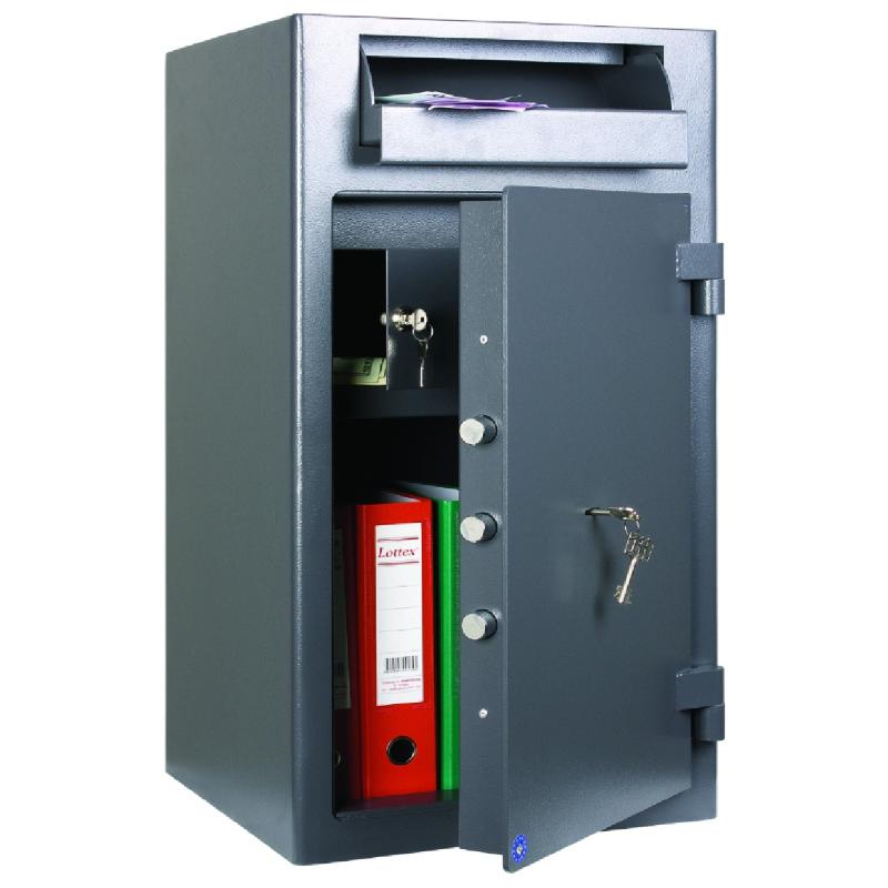Coffre fort de dépôt serrure à clé et électronique
