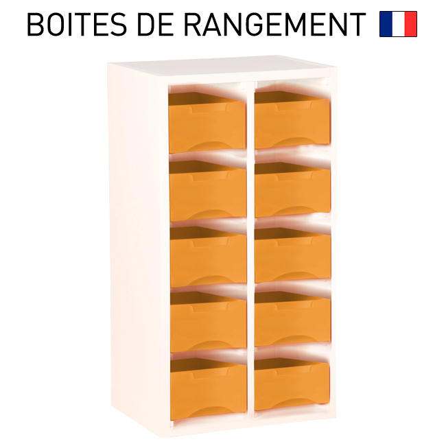 meuble bois blanc pour boites de rangement starbox double. Black Bedroom Furniture Sets. Home Design Ideas