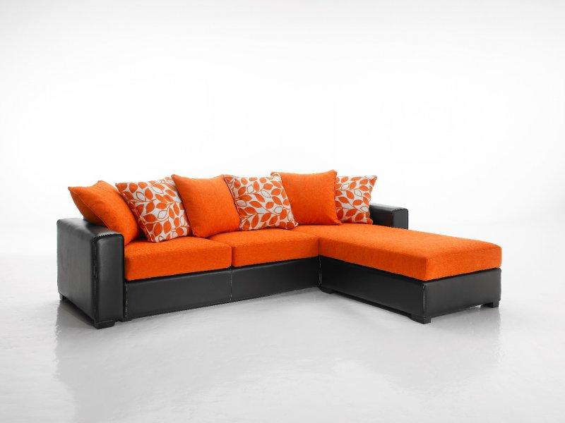 canape d 39 angle reversible kennett tweed orange et cuir. Black Bedroom Furniture Sets. Home Design Ideas