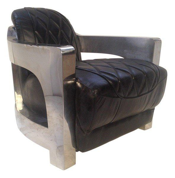 fauteuil metal club cuir vintage noir. Black Bedroom Furniture Sets. Home Design Ideas