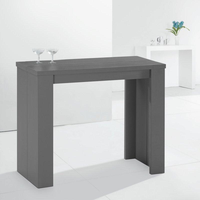 console extensible en table repas elasto grise. Black Bedroom Furniture Sets. Home Design Ideas