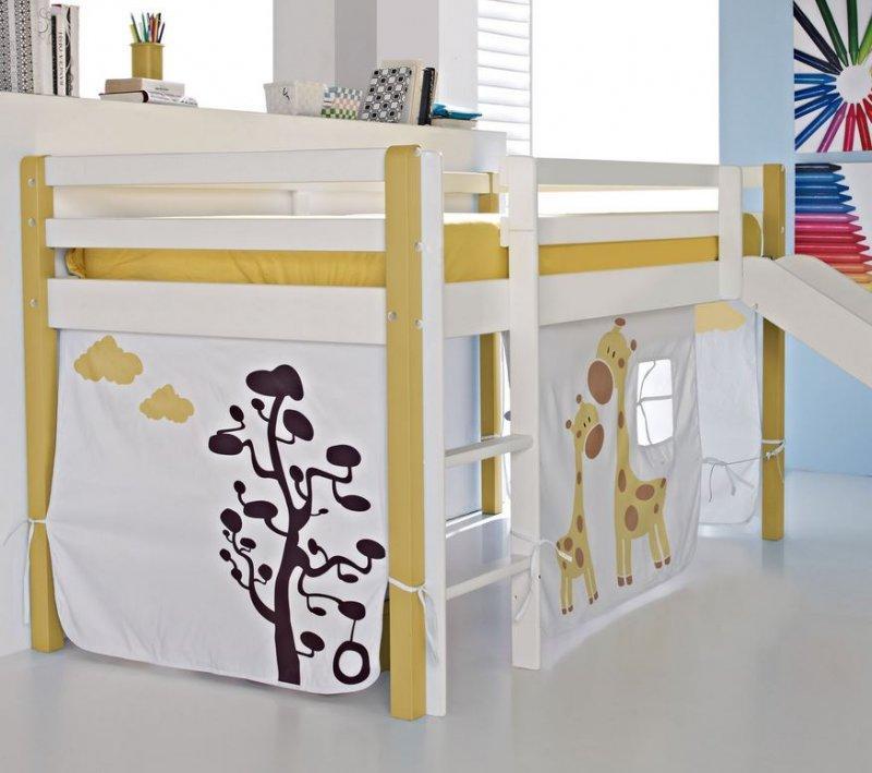 lit sureleve comete en pin massif blanc et jaune avec toboggan couchage 190 x 90. Black Bedroom Furniture Sets. Home Design Ideas