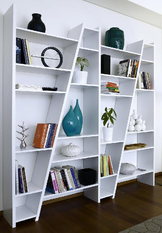 temahome delta 4 bibliotheque etagere design blanc laque mat. Black Bedroom Furniture Sets. Home Design Ideas