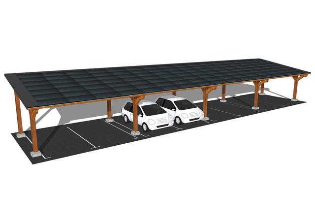 Abri auto / ombrière parking 2-8 places, option solaire