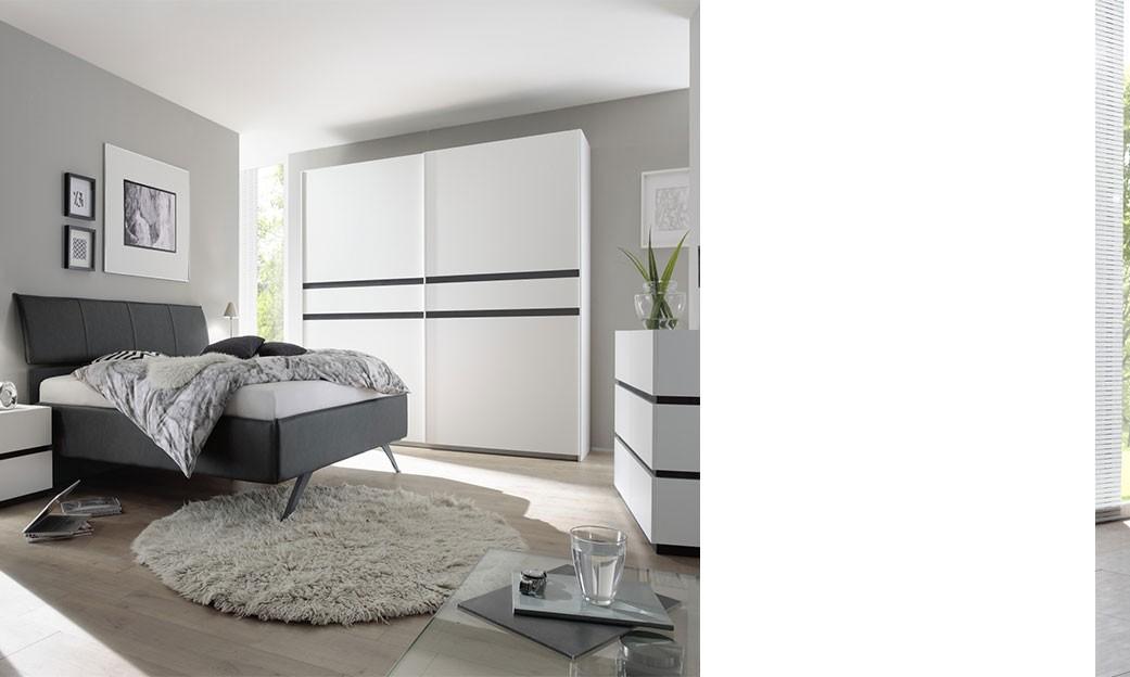 chambre a coucher complete blanc et anthracite mariela. Black Bedroom Furniture Sets. Home Design Ideas