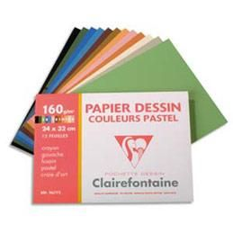 pochette de 12 feuilles papier dessin couleur clairefontaine teintes pastels 160g 24 x. Black Bedroom Furniture Sets. Home Design Ideas