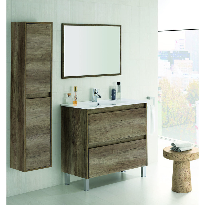 Set de meuble sous lavabo avec 2 tiroirs colonne for Meuble lavabo sur colonne