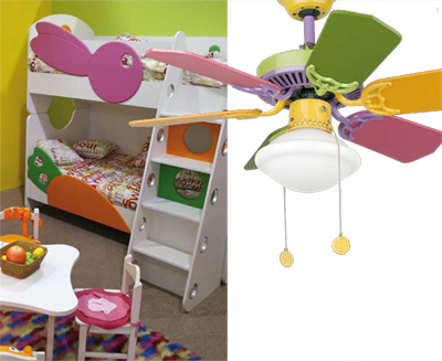 ventilateur de plafond pour chambres d 39 enfants avec lampe baby pastel. Black Bedroom Furniture Sets. Home Design Ideas