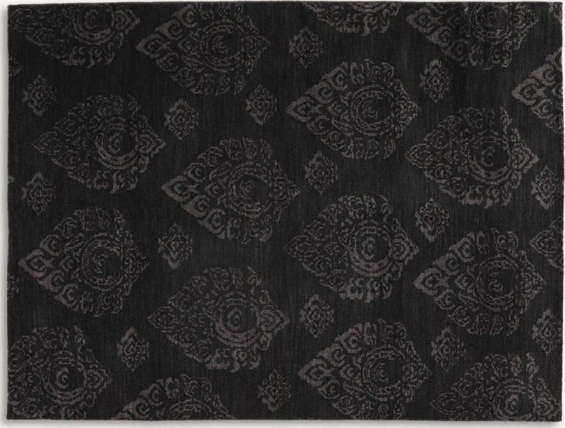 basanti tapis laine gris noir 140x200 cm. Black Bedroom Furniture Sets. Home Design Ideas