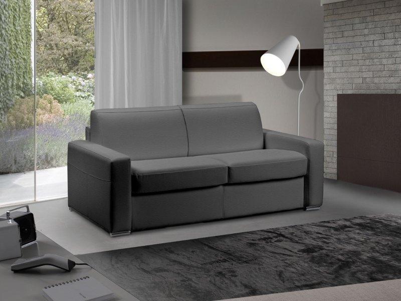 canape lit 3 4 places master convertible ouverture rapido 160 cm cuir eco gris graphite matelas. Black Bedroom Furniture Sets. Home Design Ideas