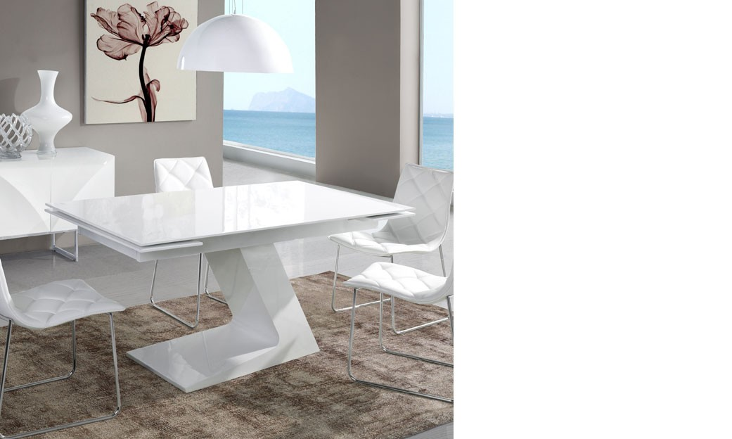 Table a manger extensible design blanc laque zag for Table salle a manger extensible design