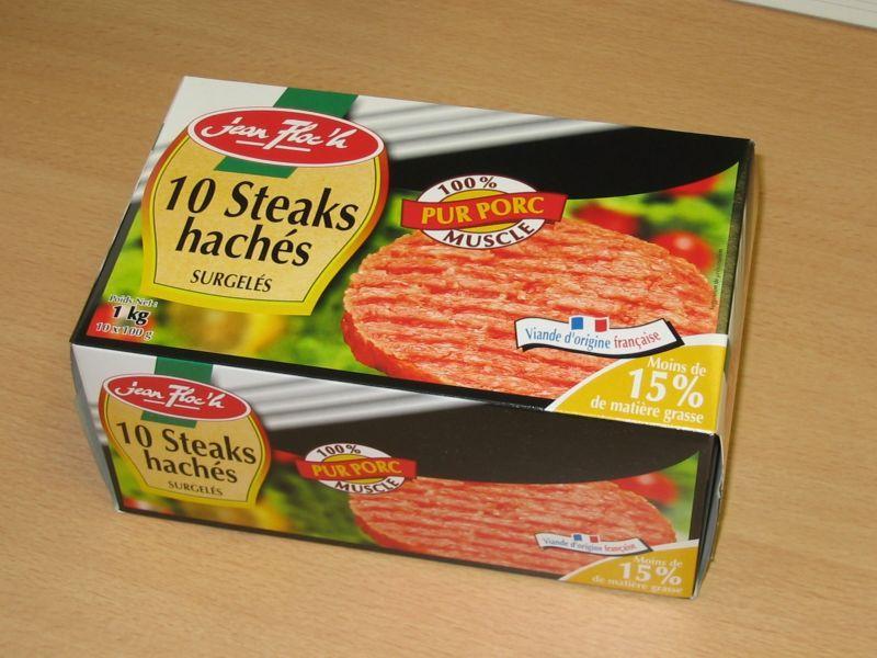Steak haché de porc surgelé