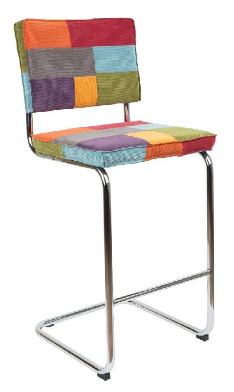 tabouret de bar zuiver ridge rib velours patchwork pi tement chrom comparer les prix de. Black Bedroom Furniture Sets. Home Design Ideas