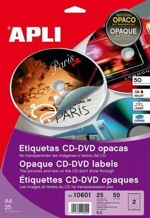 10601 - 50 ÉTIQUETTES CD/DVD MAXI BLANCHES, DIAM. 117 MM (25 FEUILLES / CDT)