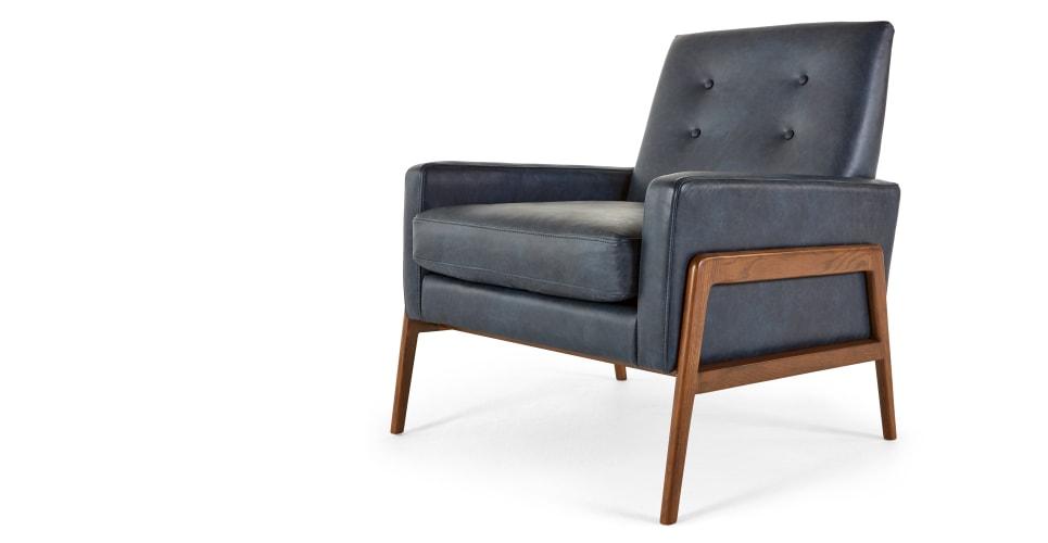 Cecil fauteuil cuir superieur bleu