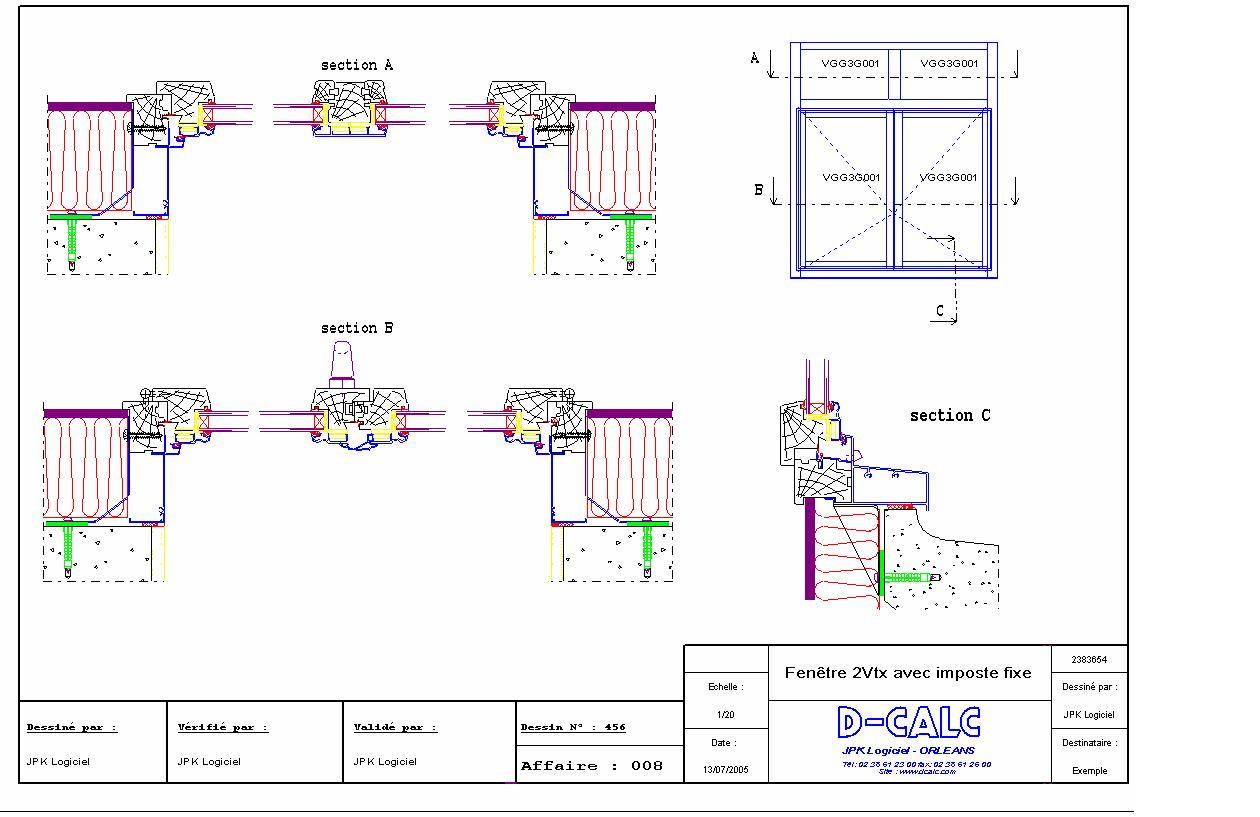 Logiciel de conception de dessins 2d d calc facade 2000 for Fenetre pvc dwg