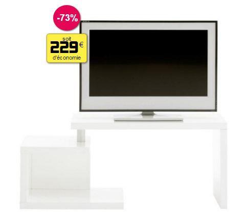 Meuble télé design blanc laqué 119 x 40 x 50 cm