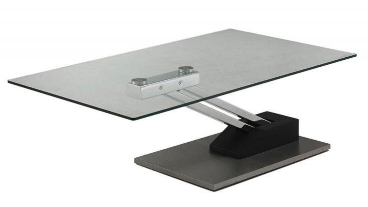 Table basse step relevable en table repas verre - Mecanisme pour table basse relevable ...