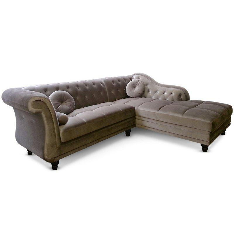 canape d 39 angle droite kingdom chesterfield velours taupe. Black Bedroom Furniture Sets. Home Design Ideas