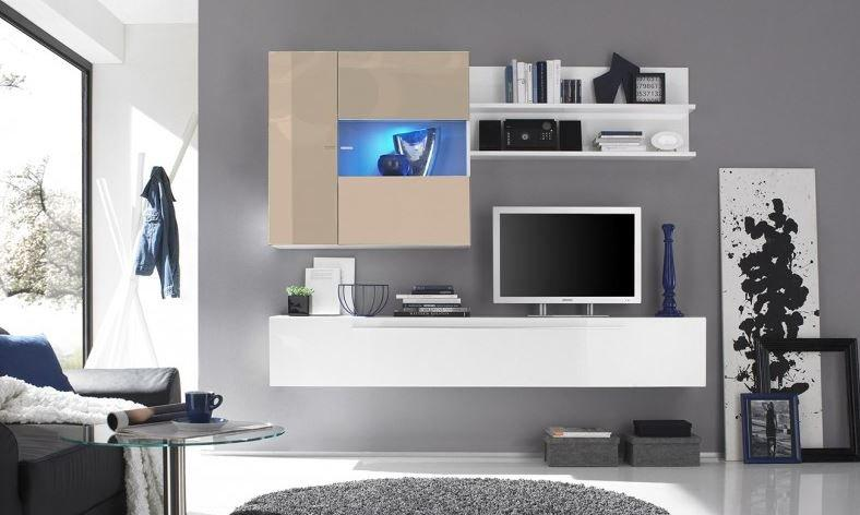 composition murale tv design primera 2 blanc et sable. Black Bedroom Furniture Sets. Home Design Ideas