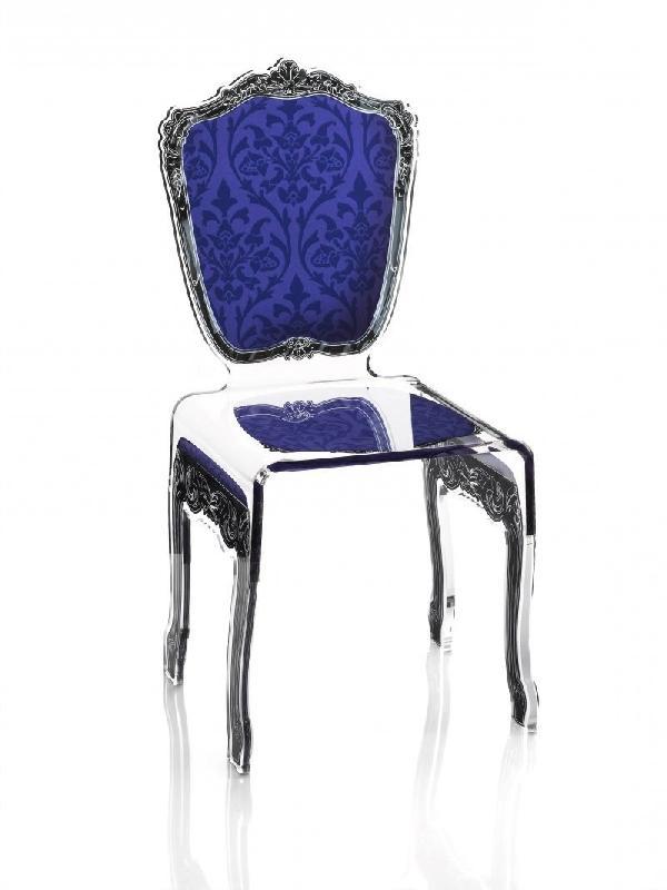 chaise baroque bleue acrila plexi design. Black Bedroom Furniture Sets. Home Design Ideas