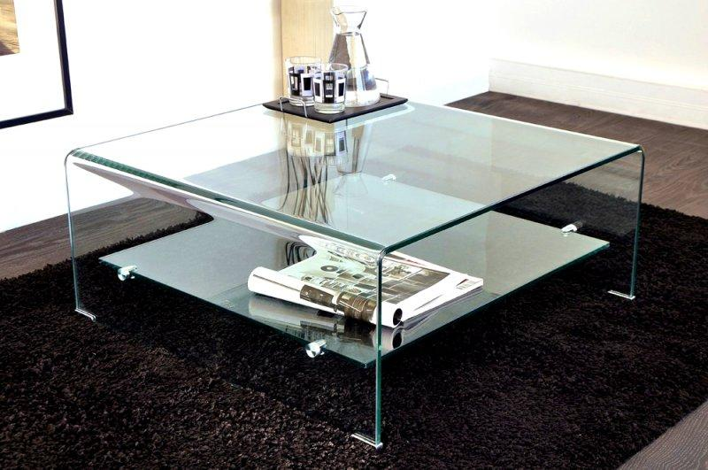 Wave Table Basse Carree En Verre Double Plateau 80x80 Cm