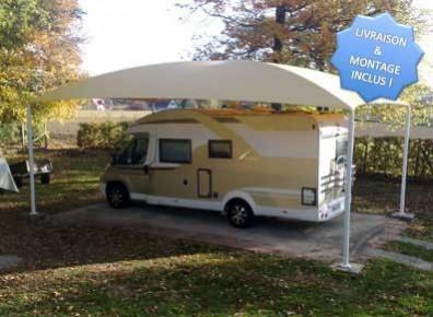 Abri camping-car ouvert métal 4 pieds / structure en acier / toiture arrondie en toile / 10 x 3 m