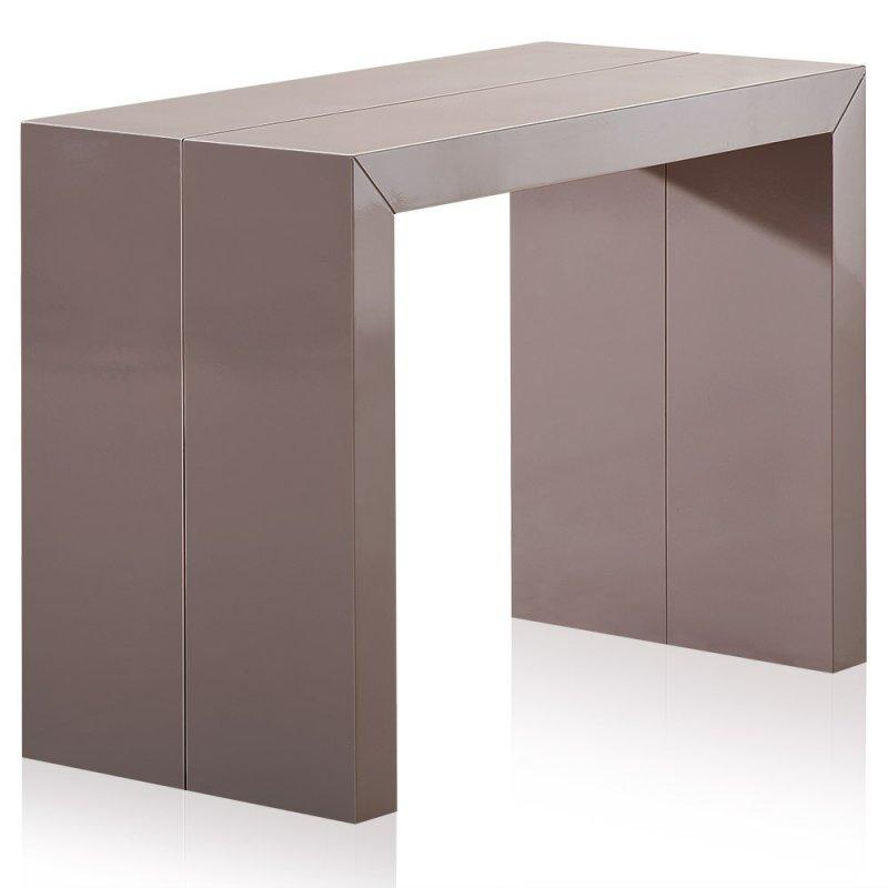 console extensible illusion laque taupe brillant. Black Bedroom Furniture Sets. Home Design Ideas
