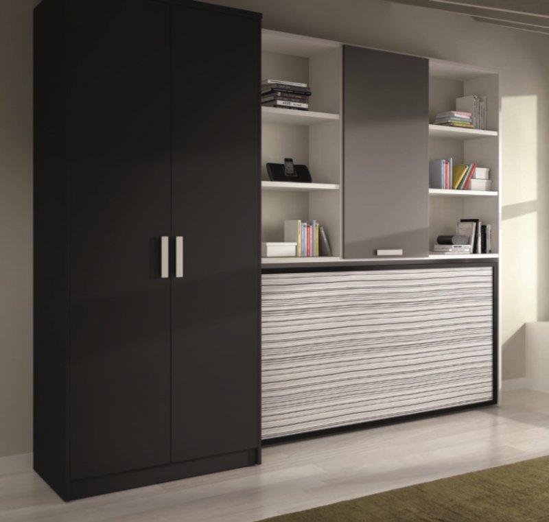 armoire lit transversale vulcano avec rangements couchage 90 190cm. Black Bedroom Furniture Sets. Home Design Ideas