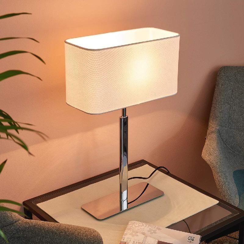 Lampe de table Viola nickel verre Salon Lampe de chevet chambre lampenwelt