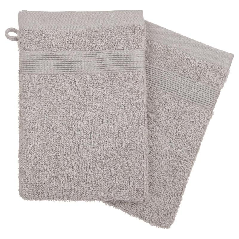 Lot de 2 gants de toilette confort 15x21cm taupe - paris prix