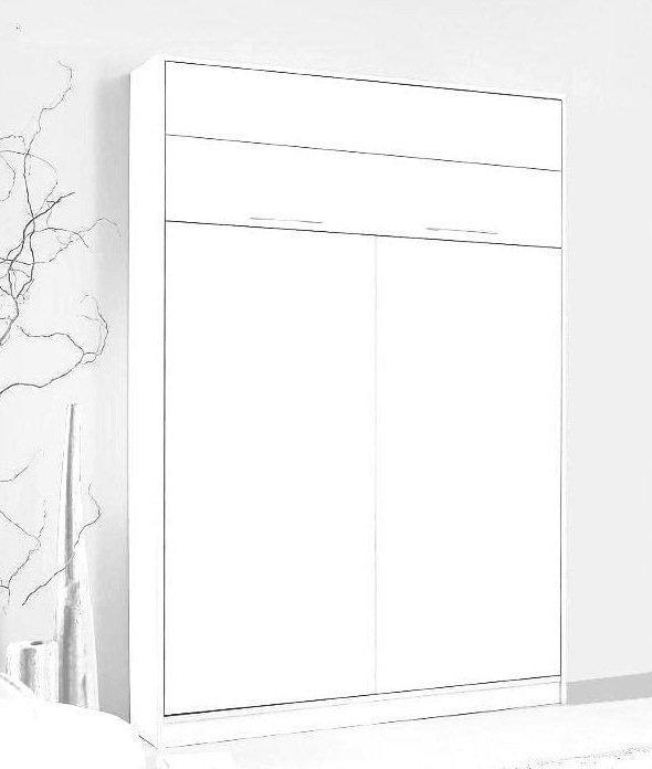 armoire lit escamotable jacquelin 140 cm profondeur 26 cm blanc mat avec eclairage matelas. Black Bedroom Furniture Sets. Home Design Ideas